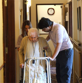 Resident and Carer at Charnley House